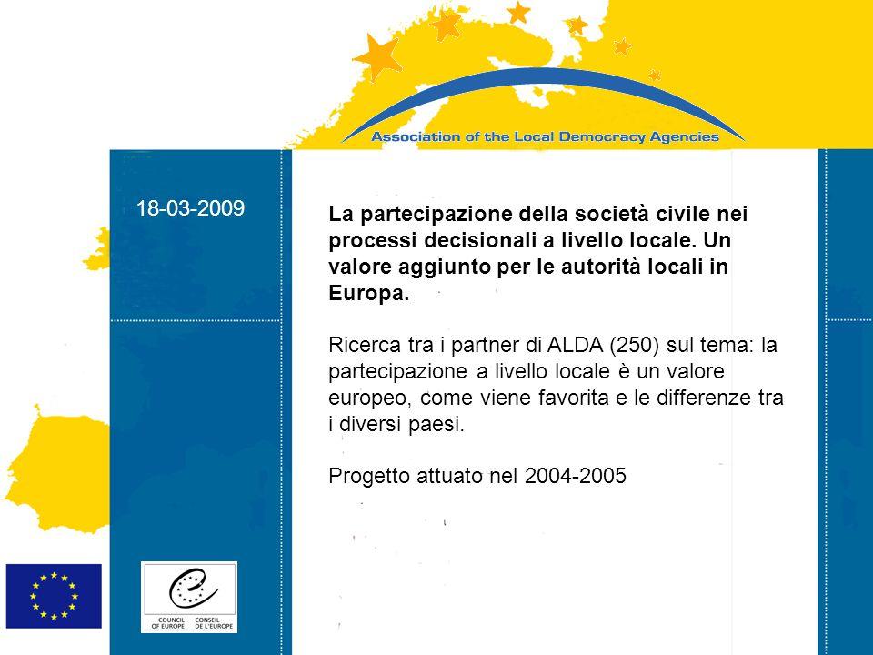 18-03-2009 Strasbourg 05/06/07 Strasbourg 31/07/07 18-03-2009 Il ruolo delle autorità locali nella promozione dei valori della Costituzione europea - Dibattito sui valori europei - Coinvolgimento dei Balcani Progetto attuato nel 2004-2005