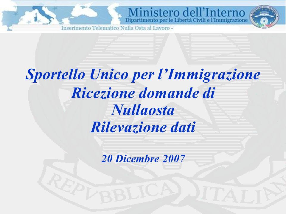 Sportello Unico per l'Immigrazione Ricezione domande di Nullaosta Rilevazione dati 20 Dicembre 2007