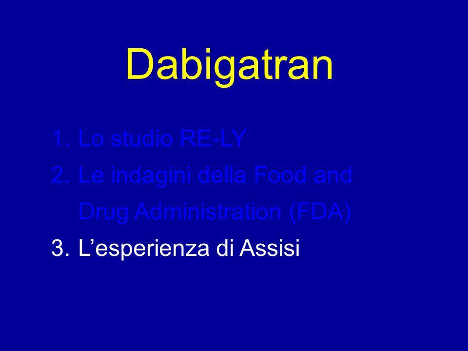 Dabigatran 1.Lo studio RE-LY 2.Le indagini della Food and Drug Administration (FDA) 3.L'esperienza di Assisi