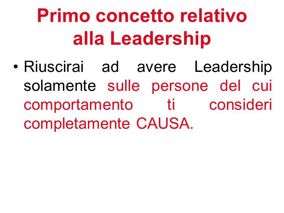 Primo concetto relativo alla Leadership Riuscirai ad avere Leadership solamente sulle persone del cui comportamento ti consideri completamente CAUSA.