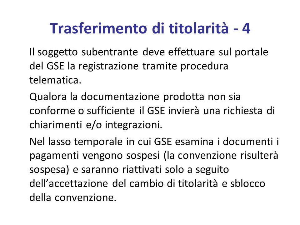 Trasferimento di titolarità - 4 Il soggetto subentrante deve effettuare sul portale del GSE la registrazione tramite procedura telematica.