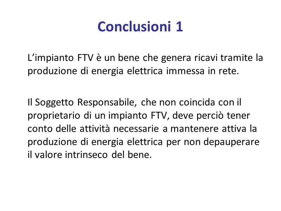 Conclusioni 1 L'impianto FTV è un bene che genera ricavi tramite la produzione di energia elettrica immessa in rete.