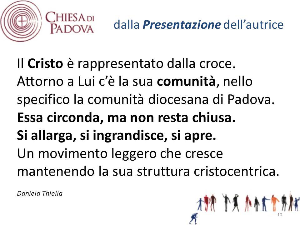 Il Cristo è rappresentato dalla croce. Attorno a Lui c'è la sua comunità, nello specifico la comunità diocesana di Padova. Essa circonda, ma non resta