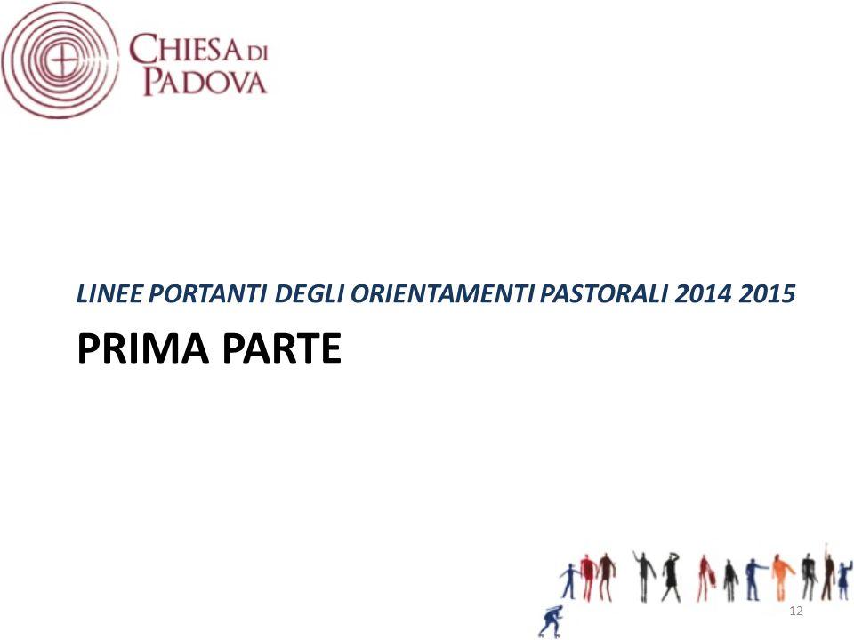 PRIMA PARTE LINEE PORTANTI DEGLI ORIENTAMENTI PASTORALI 2014 2015 12