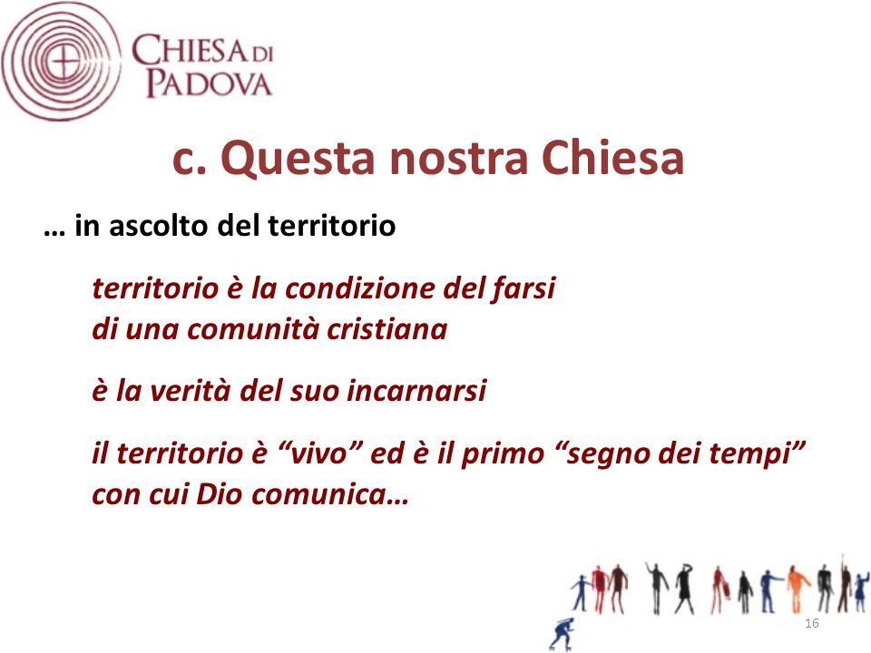 c. Questa nostra Chiesa … in ascolto del territorio territorio è la condizione del farsi di una comunità cristiana è la verità del suo incarnarsi il t