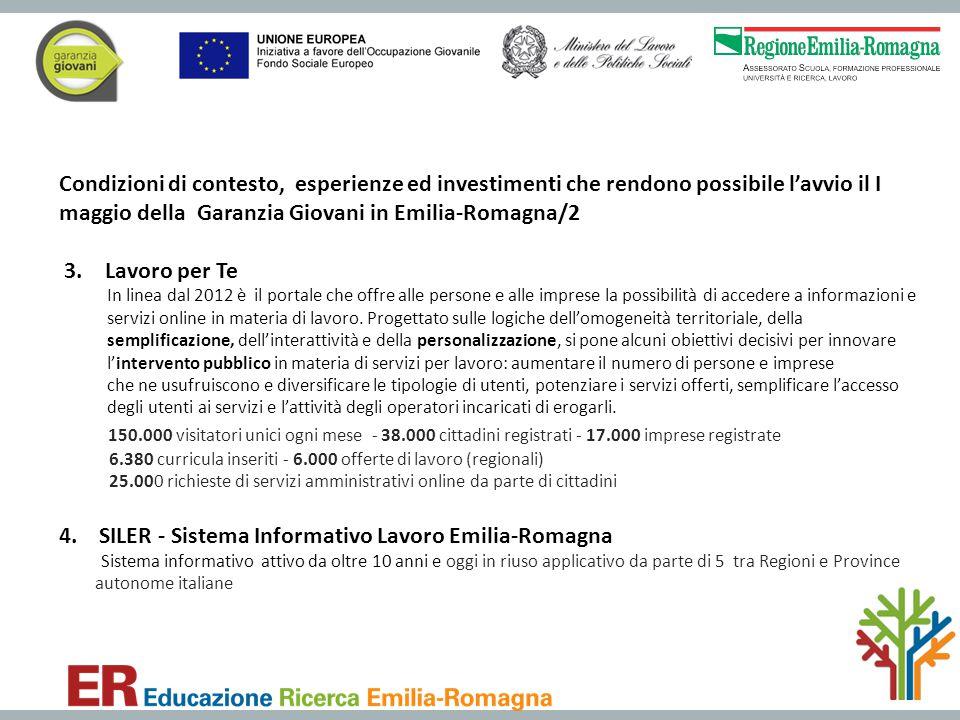 Condizioni di contesto, esperienze ed investimenti che rendono possibile l'avvio il I maggio della Garanzia Giovani in Emilia-Romagna/2 3. Lavoro per