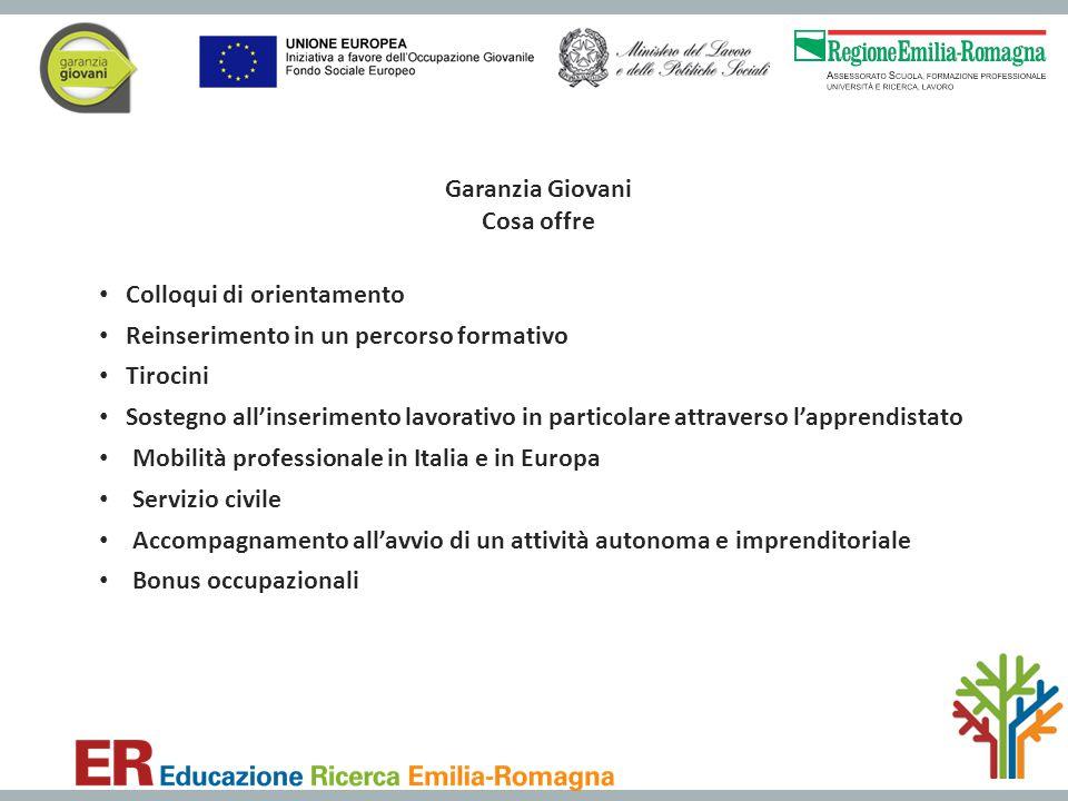 Garanzia Giovani Cosa offre Colloqui di orientamento Reinserimento in un percorso formativo Tirocini Sostegno all'inserimento lavorativo in particolar
