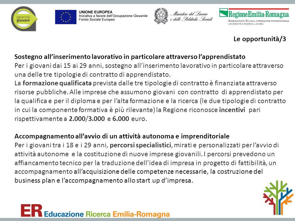 Le opportunità/3 Sostegno all'inserimento lavorativo in particolare attraverso l'apprendistato Per i giovani dai 15 ai 29 anni, sostegno all'inserimen