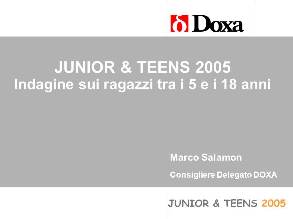 JUNIOR & TEENS 2005 JUNIOR & TEENS 2005 Indagine sui ragazzi tra i 5 e i 18 anni Marco Salamon Consigliere Delegato DOXA