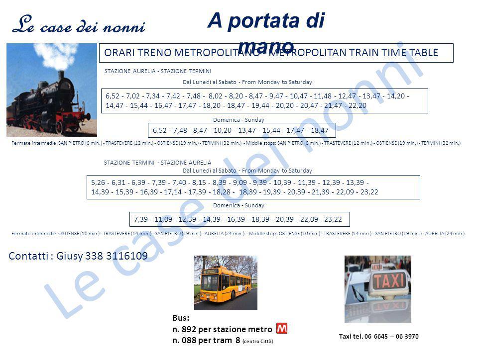 Le case dei nonni Taxi tel. 06 6645 – 06 3970 Bus: n. 892 per stazione metro n. 088 per tram 8 (centro Città) ORARI TRENO METROPOLITANO - METROPOLITAN