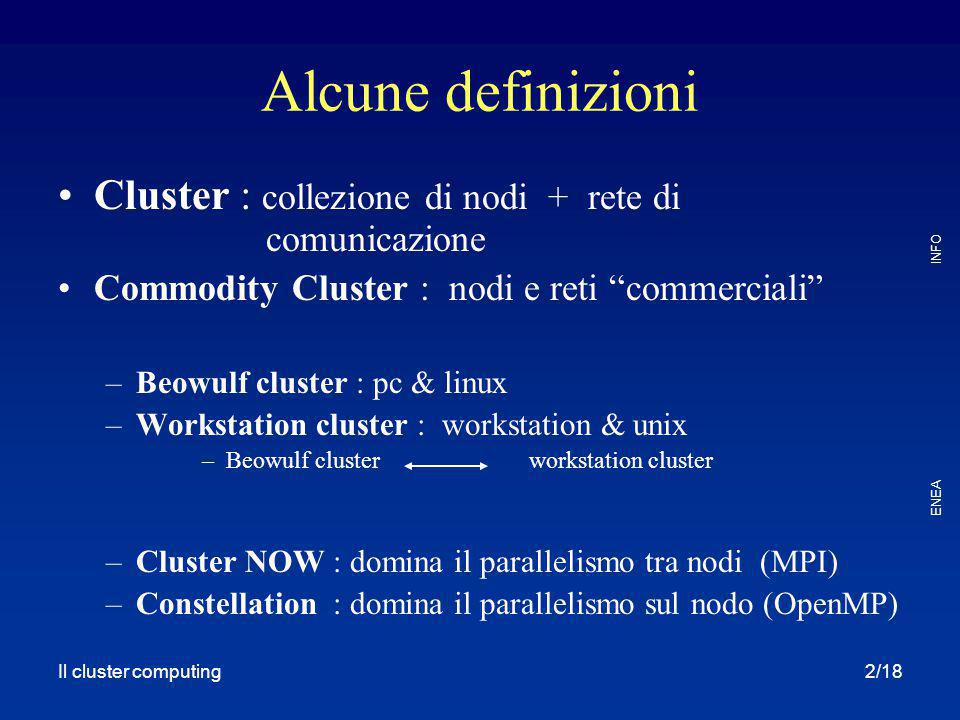 Il cluster computing ENEA INFO 3/18 Quindi un Beowulf è: Commodity Cluster of networked PCs –Intel Pentium or … –Switched 100/1000Mbit/s Ethernet or Myrinet or QsNet or … –Linux –Parallel and batch software support cicli di calcolo al più basso costo possibile