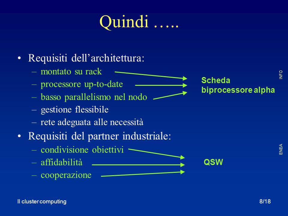 Il cluster computing ENEA INFO 8/18 Requisiti dell'architettura: –montato su rack –processore up-to-date –basso parallelismo nel nodo –gestione flessi