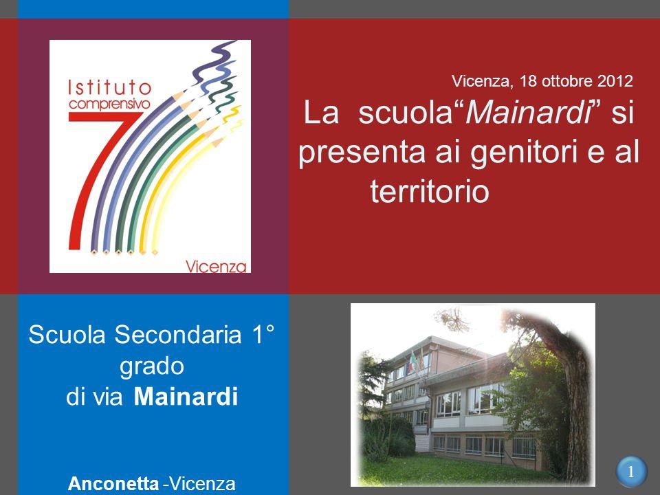 1 Scuola Secondaria 1° grado di via Mainardi Anconetta -Vicenza Vicenza, 18 ottobre 2012 La scuola Mainardi si presenta ai genitori e al territorio