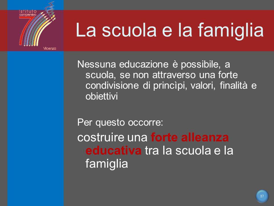 17 La scuola e la famiglia Nessuna educazione è possibile, a scuola, se non attraverso una forte condivisione di princìpi, valori, finalità e obiettivi Per questo occorre: costruire una forte alleanza educativa tra la scuola e la famiglia