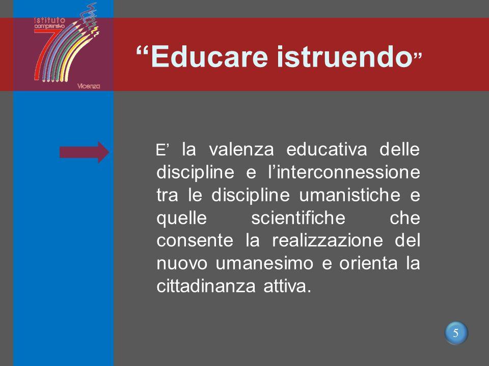 5 Educare istruendo E' la valenza educativa delle discipline e l'interconnessione tra le discipline umanistiche e quelle scientifiche che consente la realizzazione del nuovo umanesimo e orienta la cittadinanza attiva.