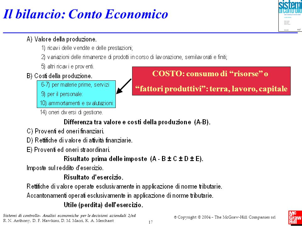 17 Sistemi di controllo- Analisi economiche per le decisioni aziendali 2/ed R. N. Anthony, D. F. Hawkins, D. M. Macrì, K. A. Merchant © Copyright © 20