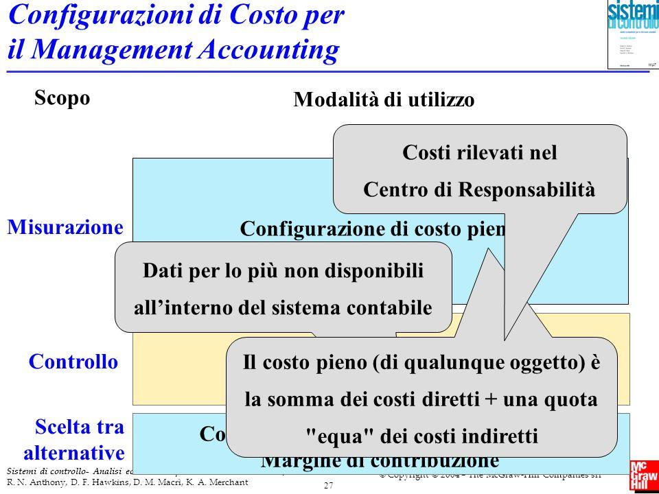 27 Sistemi di controllo- Analisi economiche per le decisioni aziendali 2/ed R. N. Anthony, D. F. Hawkins, D. M. Macrì, K. A. Merchant © Copyright © 20