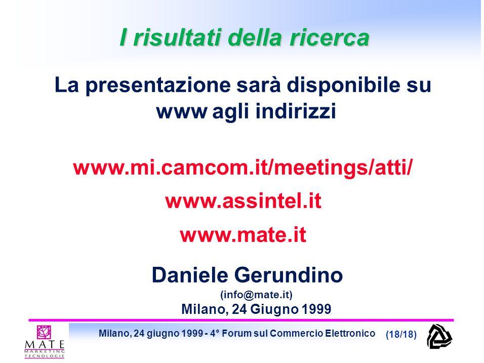 Milano, 24 giugno 1999 - 4° Forum sul Commercio Elettronico (18/18) I risultati della ricerca Daniele Gerundino (info@mate.it) Milano, 24 Giugno 1999