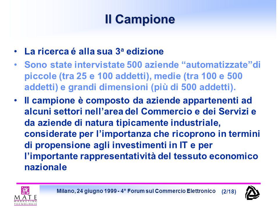 Milano, 24 giugno 1999 - 4° Forum sul Commercio Elettronico (2/18) Il Campione La ricerca é alla sua 3 a edizione Sono state intervistate 500 aziende