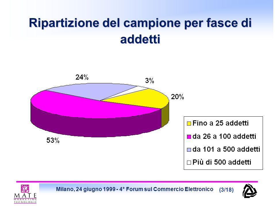 Milano, 24 giugno 1999 - 4° Forum sul Commercio Elettronico (3/18) Ripartizione del campione per fasce di addetti