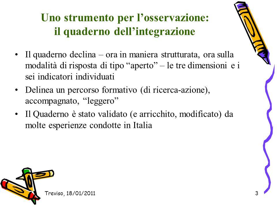 Treviso, 18/01/201114 Come cambia la nostra idea di integrazione.