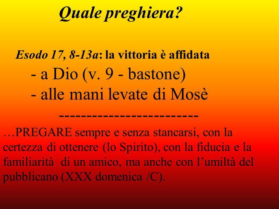 Quale preghiera. Esodo 17, 8-13a: la vittoria è affidata - a Dio (v.