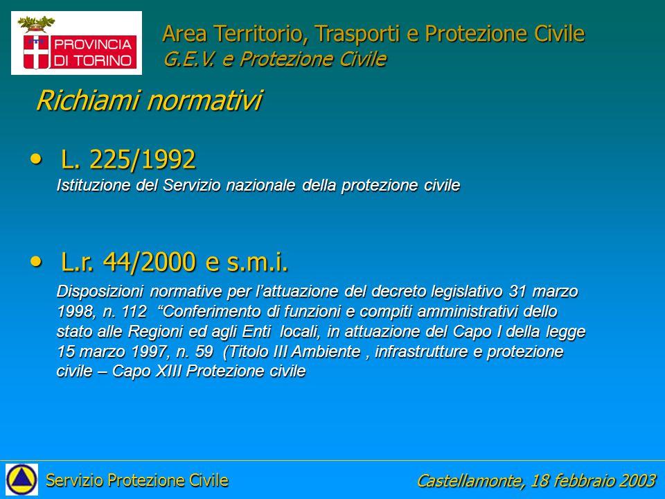 Richiami normativi L. 225/1992 L.