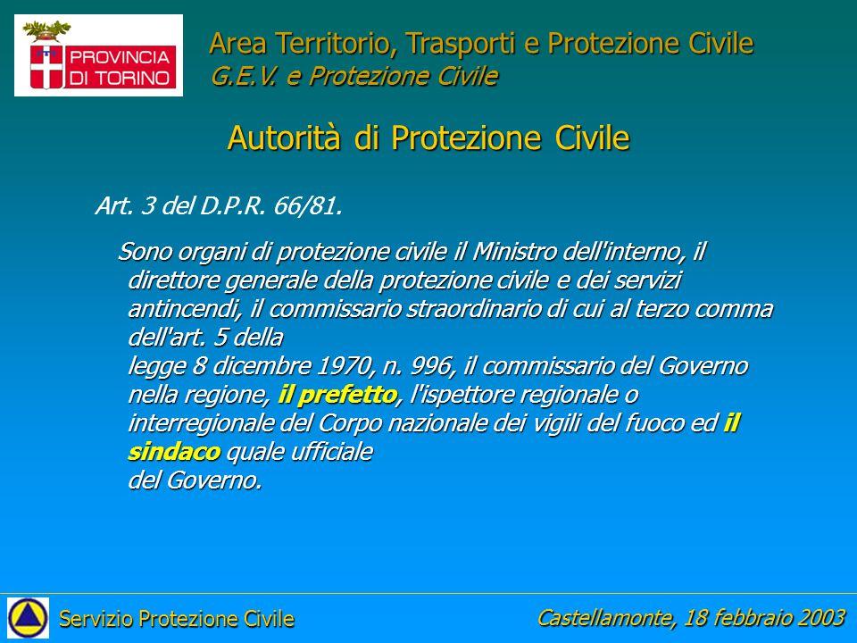 Autorità di Protezione Civile Art. 3 del D.P.R. 66/81.