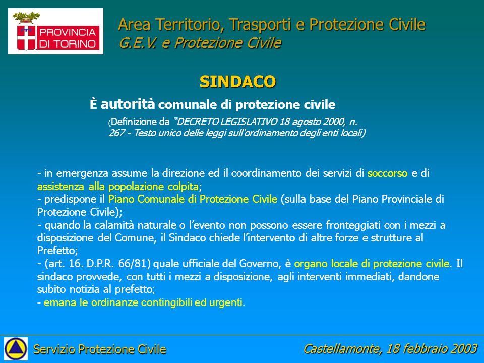 Area Territorio, Trasporti e Protezione Civile G.E.V.