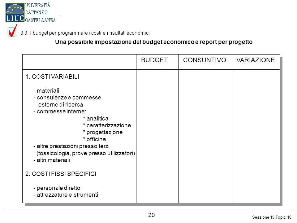 Sessione 19 Topic 18 20 Una possibile impostazione del budget economico e report per progetto 1.