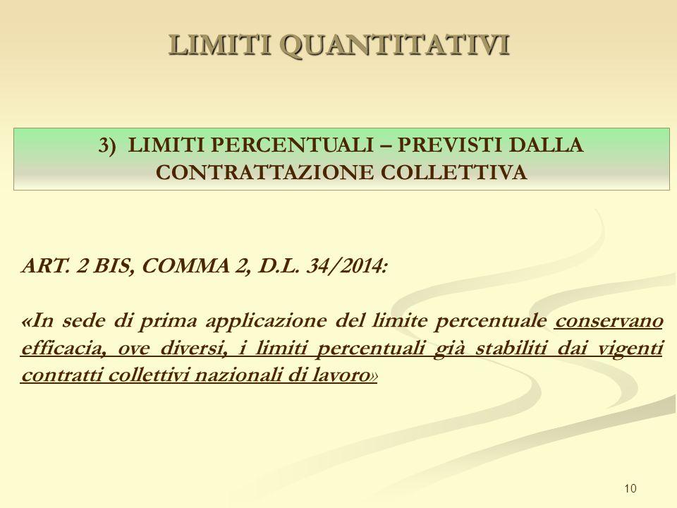 LIMITI QUANTITATIVI 10 3) LIMITI PERCENTUALI – PREVISTI DALLA CONTRATTAZIONE COLLETTIVA ART. 2 BIS, COMMA 2, D.L. 34/2014: «In sede di prima applicazi