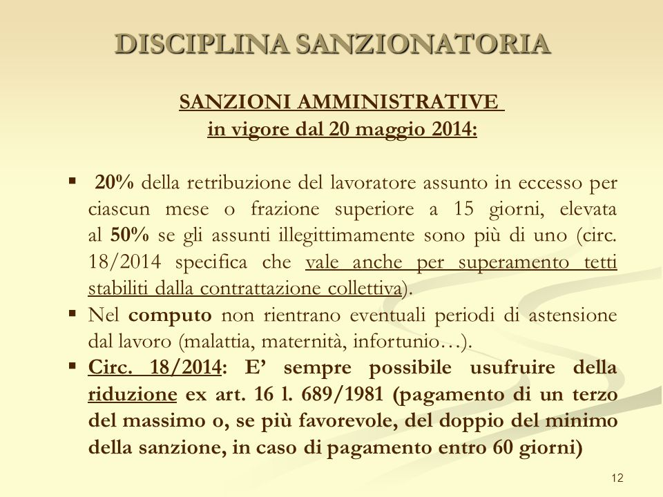 DISCIPLINA SANZIONATORIA 12 SANZIONI AMMINISTRATIVE in vigore dal 20 maggio 2014:  20% della retribuzione del lavoratore assunto in eccesso per ciasc