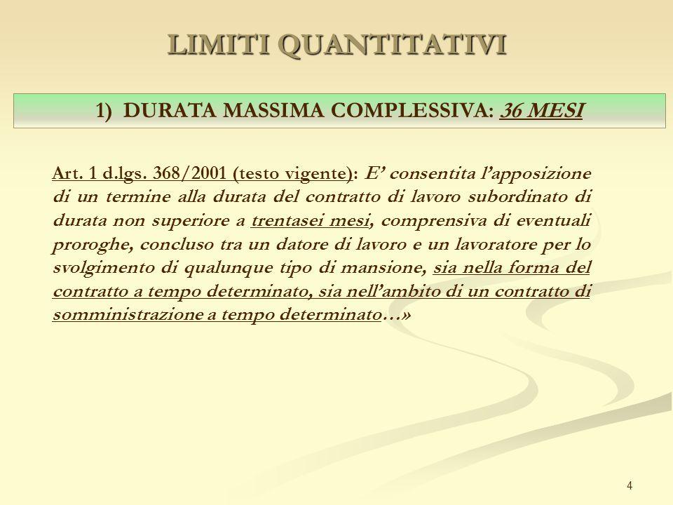 LIMITI QUANTITATIVI 4 1) DURATA MASSIMA COMPLESSIVA: 36 MESI Art. 1 d.lgs. 368/2001 (testo vigente): E' consentita l'apposizione di un termine alla du