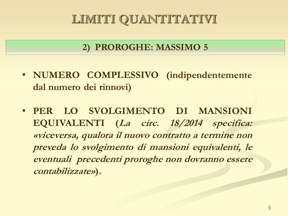 LIMITI QUANTITATIVI 5 2) PROROGHE: MASSIMO 5 NUMERO COMPLESSIVO (indipendentemente dal numero dei rinnovi) PER LO SVOLGIMENTO DI MANSIONI EQUIVALENTI (La circ.