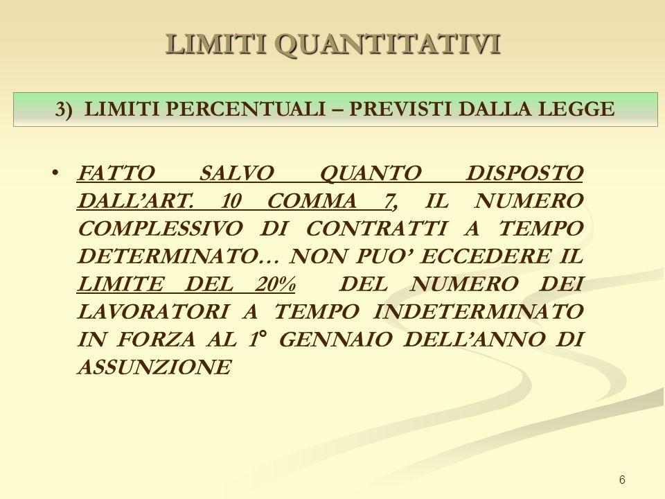 LIMITI QUANTITATIVI 6 3) LIMITI PERCENTUALI – PREVISTI DALLA LEGGE FATTO SALVO QUANTO DISPOSTO DALL'ART. 10 COMMA 7, IL NUMERO COMPLESSIVO DI CONTRATT