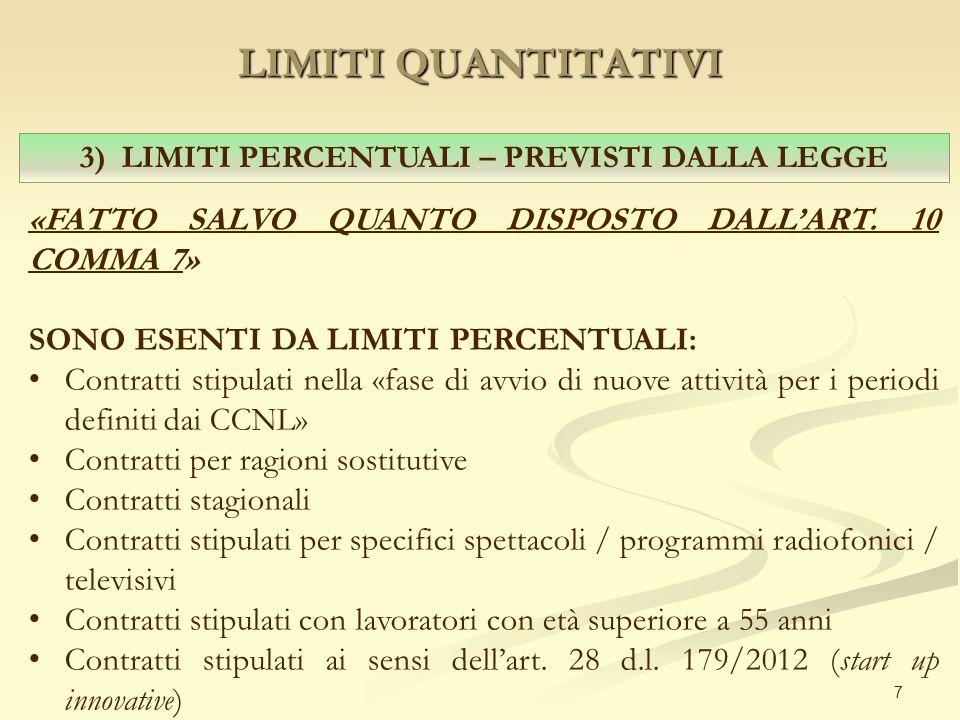 LIMITI QUANTITATIVI 7 3) LIMITI PERCENTUALI – PREVISTI DALLA LEGGE «FATTO SALVO QUANTO DISPOSTO DALL'ART.