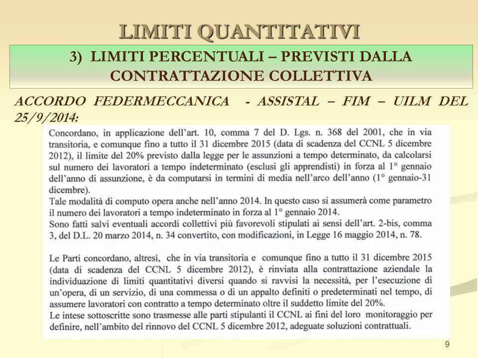 LIMITI QUANTITATIVI 9 3) LIMITI PERCENTUALI – PREVISTI DALLA CONTRATTAZIONE COLLETTIVA ACCORDO FEDERMECCANICA - ASSISTAL – FIM – UILM DEL 25/9/2014: