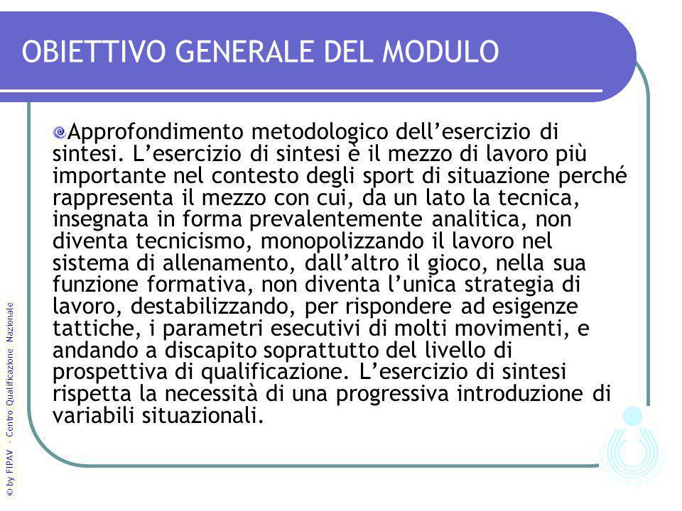 © by FIPAV - Centro Qualificazione Nazionale OBIETTIVO GENERALE DEL MODULO Approfondimento metodologico dell'esercizio di sintesi. L'esercizio di sint