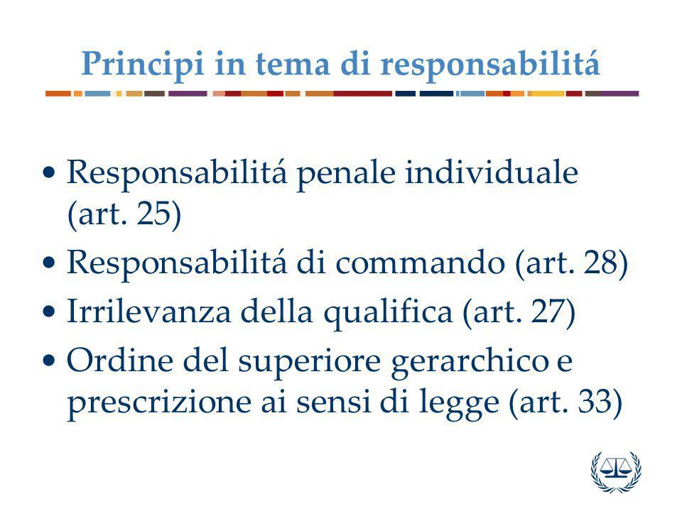 Principi in tema di responsabilitá Responsabilitá penale individuale (art. 25) Responsabilitá di commando (art. 28) Irrilevanza della qualifica (art.