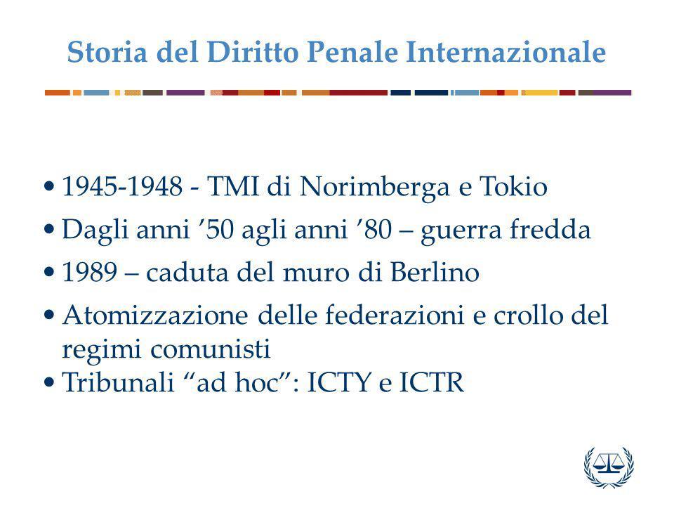 1945-1948 - TMI di Norimberga e Tokio Dagli anni '50 agli anni '80 – guerra fredda 1989 – caduta del muro di Berlino Atomizzazione delle federazioni e crollo del regimi comunisti Tribunali ad hoc : ICTY e ICTR Storia del Diritto Penale Internazionale