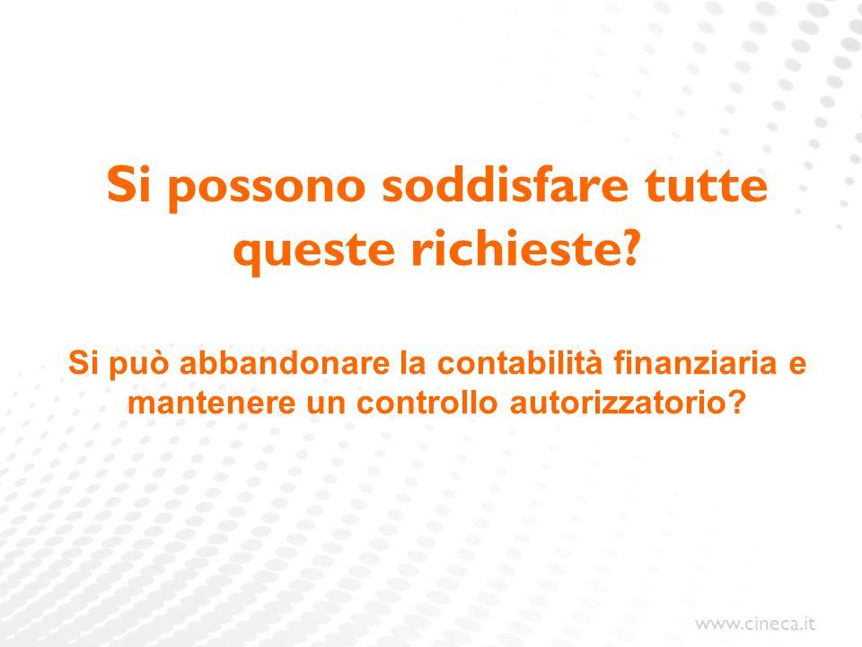 www.cineca.it Si possono soddisfare tutte queste richieste? Si può abbandonare la contabilità finanziaria e mantenere un controllo autorizzatorio?
