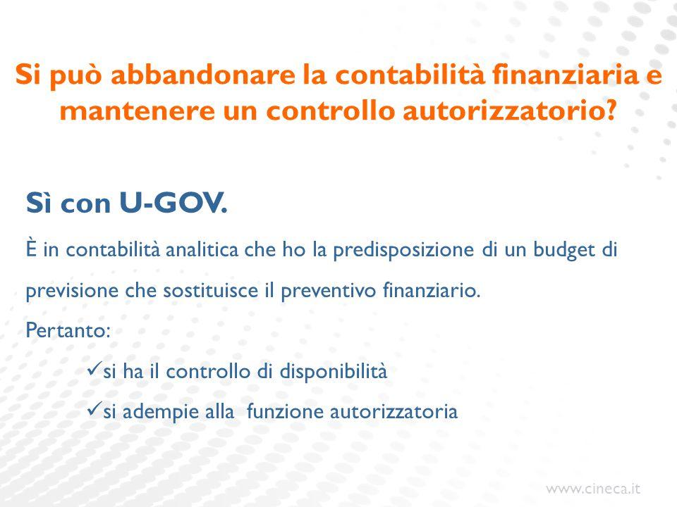 www.cineca.it Si può abbandonare la contabilità finanziaria e mantenere un controllo autorizzatorio? Sì con U-GOV. È in contabilità analitica che ho l