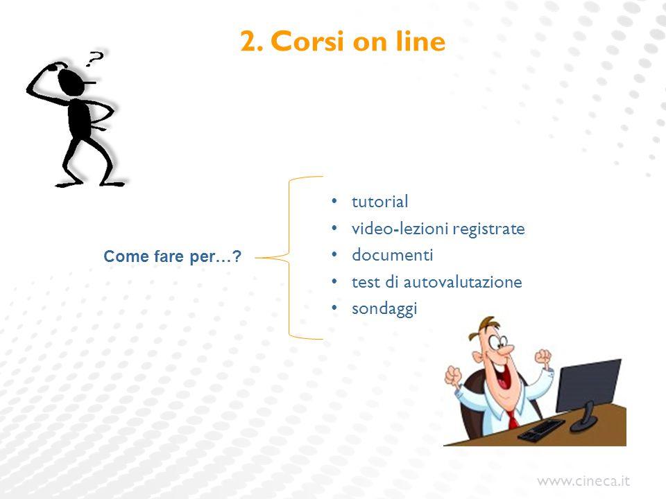 www.cineca.it 2. Corsi on line tutorial video-lezioni registrate documenti test di autovalutazione sondaggi Come fare per…?