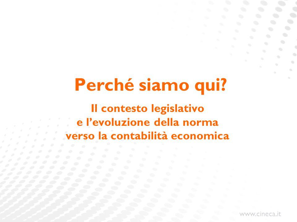 www.cineca.it Perché siamo qui? Il contesto legislativo e l'evoluzione della norma verso la contabilità economica