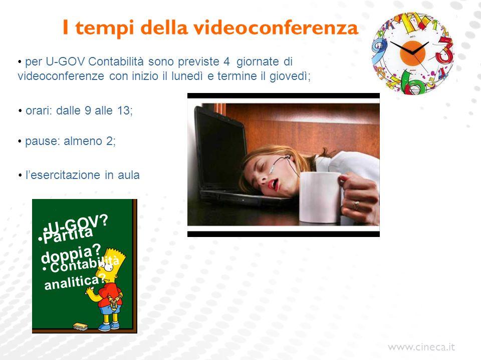 www.cineca.it I tempi della videoconferenza pause: per U-GOV Contabilità sono previste 4 giornate di videoconferenze con inizio il lunedì e termine il