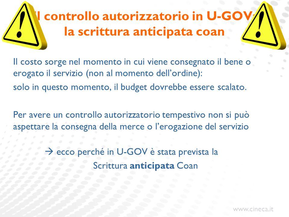 www.cineca.it Il controllo autorizzatorio in U-GOV: la scrittura anticipata coan Il costo sorge nel momento in cui viene consegnato il bene o erogato
