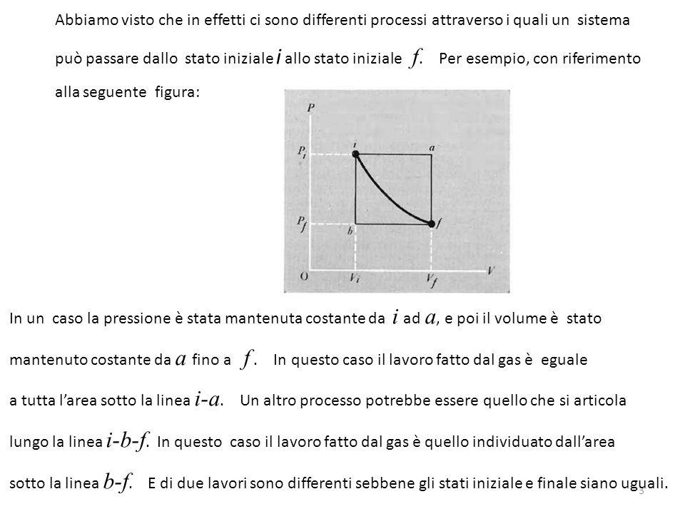 Processi reversibili e processi irreversibili Consideriamo un sistema in equilibrio termodinamico.