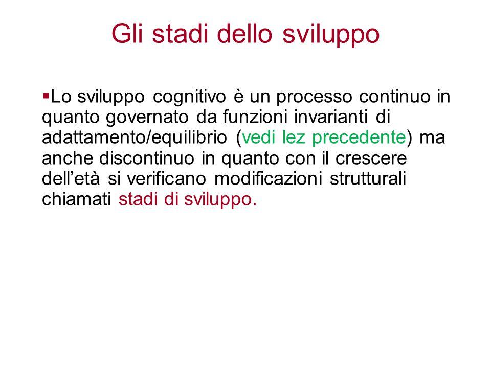 Gli stadi dello sviluppo  Lo sviluppo cognitivo è un processo continuo in quanto governato da funzioni invarianti di adattamento/equilibrio (vedi lez