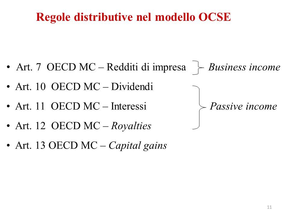 Regole distributive nel modello OCSE Art. 7 OECD MC – Redditi di impresa Business income Art. 10 OECD MC – Dividendi Art. 11 OECD MC – Interessi Passi