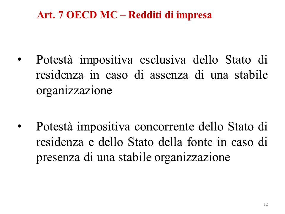 Potestà impositiva esclusiva dello Stato di residenza in caso di assenza di una stabile organizzazione Potestà impositiva concorrente dello Stato di r